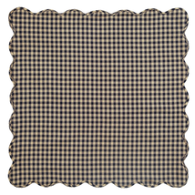 BLACK CHECK Scalloped Table Cloth - 60x60 - Raven and Khaki  -VHC Brands