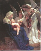 Catholic Print Picture Mary & Baby Jesus SONG OF THE ANGELS by Bouguerea... - $14.01