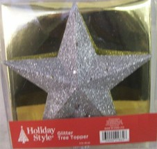 "2 NEW CHRISTMAS Tree Toppers SILVER GLITTER FINISH 7.5"" wide - $12.82"