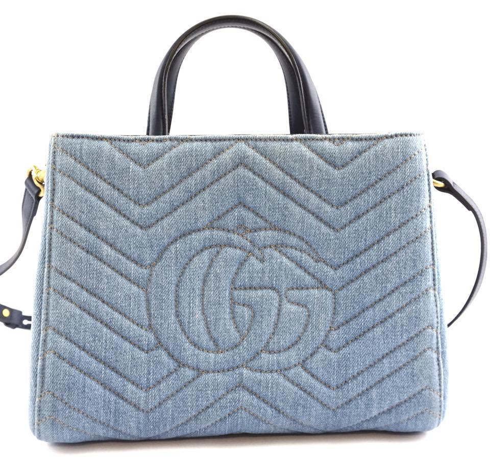 #31642 Gucci Marmont Gg Embroidered Matelasse Logo Tote Blue Denim Shoulder Bag image 2