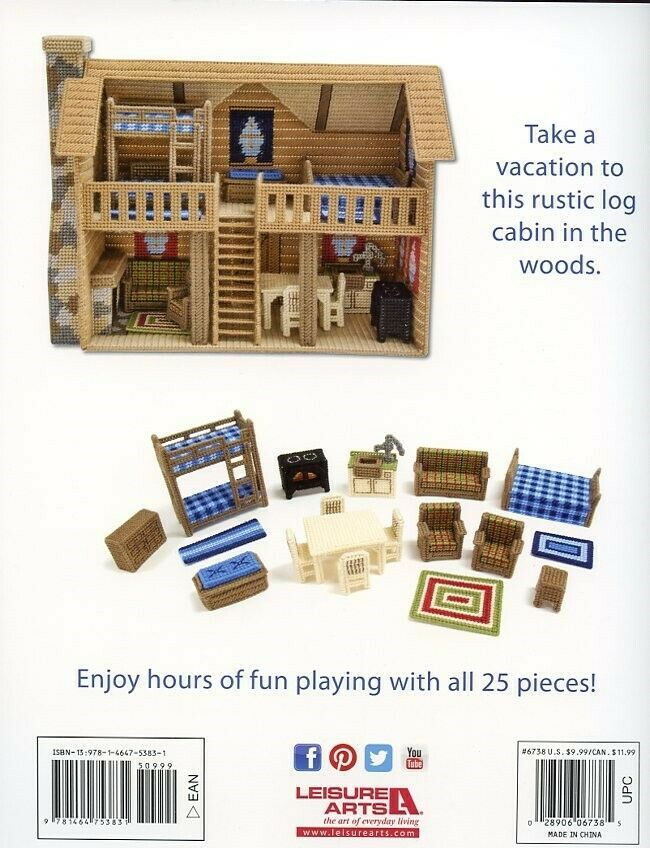 Log Cabin NEW Plastic Canvas PATTERN Booklet Furniture & House to Make