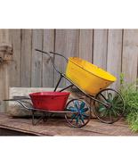 New 2/Set Antique Style Metal Wheelbarrows Red Yellow Landscape Garden D... - $59.39
