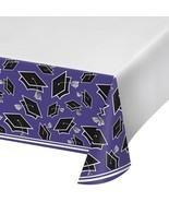 Purple Black 54 x 102 Border Print Tablecover Graduation School Spirit - $7.59