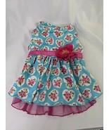 Lulu Pink Dog Size Medium Pink Floral Hearts Teal Polyester Blend Dress - $6.95