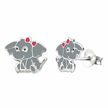 Baby Elephant Pink Ribbon Stud Earrings in 925 Sterling Silver  Fashion ... - $6.34