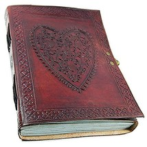 Leather Journal Diary Heart Embossed Handmade Vintage Antique Notebook N... - $27.27