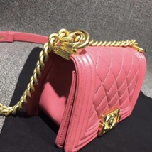 Auth Chanel Quilted Lambskin Pink Mini Boy Flap Bag Gold Hardware RARE  image 6