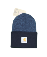 New Carhartt Spell Out Patch Acrylic Winter Beanie Hat Cap Heather Blue ... - £21.42 GBP