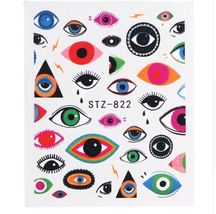 "HS Store -1pcs Nail Art ""STZ-822"" Cute Eyes Designs Nail Stickers Water ... - $2.51"