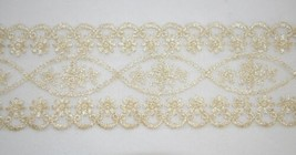 Simplicity 176030007107 Lace Trim Off White With Gold Accent 14 Yards image 1