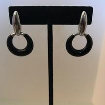 Vintage Black Enamel Silver Tone Post Door knocker Earrings J0435 - $12.34