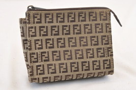 FENDI Zucchino Canvas Pouch Brown Auth ar993 - $88.00