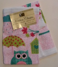 OWL design DISH TOWELS CLOTHS Set of 2 Bird with Umbrella Pink Turquoise NEW