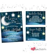 Love you to the moon and back Baby Shower Invitation Bring a Book Diaper... - $1.30+