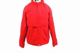 EDDIE BAUER Red Hideaway Hooded Windbreaker Jacket & Bag Size Large - $24.74