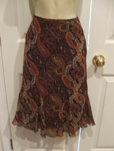 NWT $69 petite siophisticate FULLY LINED  SKIRT  brown paisley SIZE P8 - $28.70