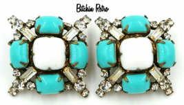 Vintage Kenneth Jay Lane Rhinestone Earrings 1960's Designer KJL - $299.00