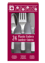24 Ct Cutlery Forks Knives Spoons Shiny Silver Premier Stylz Christmas - £3.59 GBP
