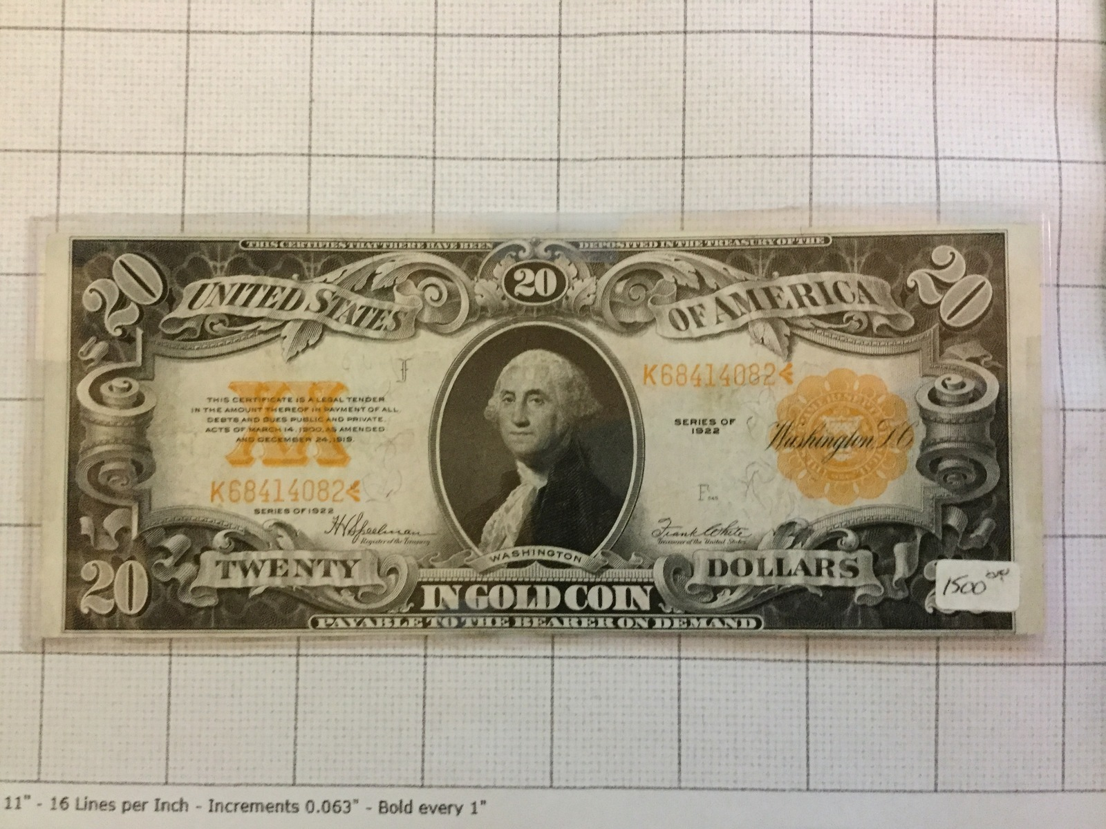 Primary image for 1922 $20 Dollar Gold Certificate AU to Unc.