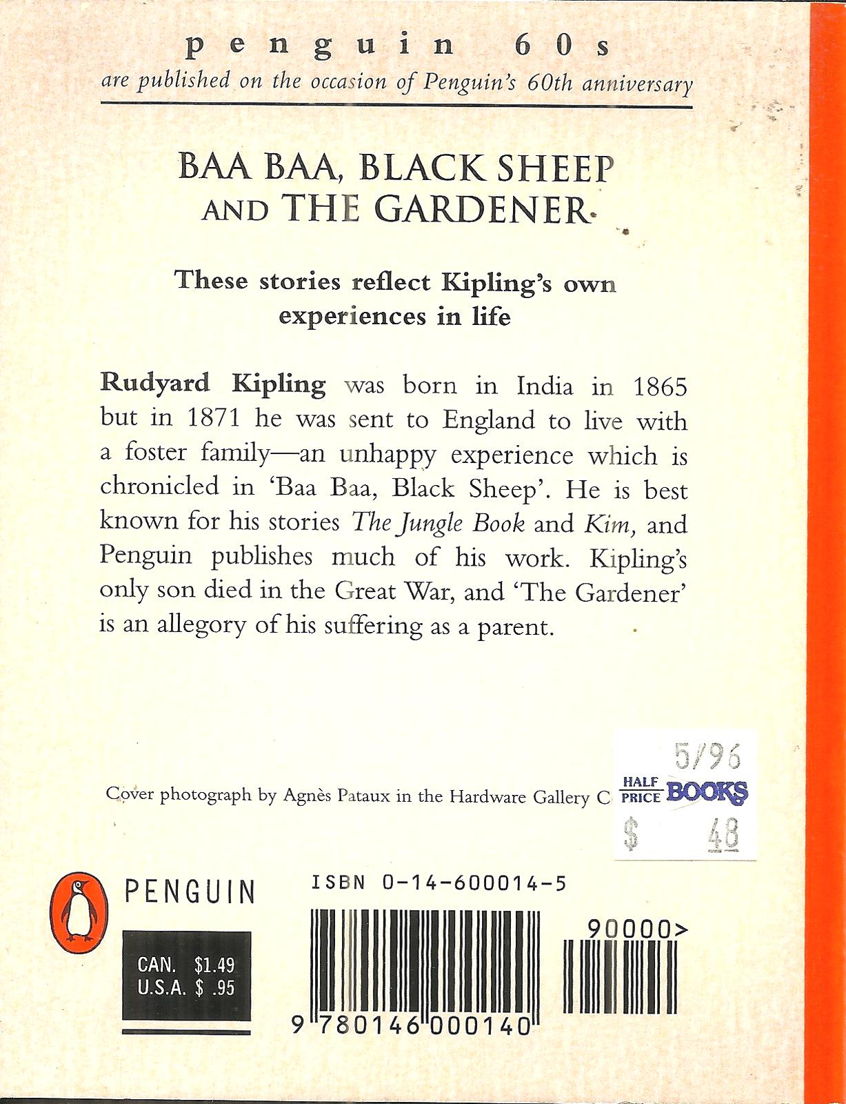 BAA BAA BLACK SHEEP Rudyard Kipling - + THE GARDENER - 2 SHORT STORIES - 1995