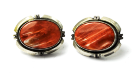 Sterling Silver Red Lake Superior Agate Bennie Bowekaty Stud Earrings 18mm - £53.47 GBP