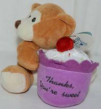 Beverly Hills Brand Playfully Elegant Brown Tan Color Thanks Cupcake Bear image 4