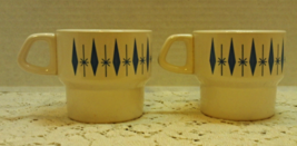 Mid Century Atomic Star-burst Stackable Coffee Mugs // Vintage Cups / Se... - $12.00