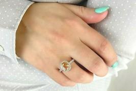 14K Yellow White Gold Emerald Cut Champagne Created Diamond Halo Engagem... - $444.00