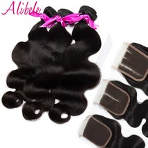 Alibele Hair peruvian body wave 3 or 4 bundles with lace closure remy ha... - $298.00