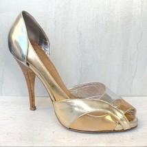 Vintage Giuseppe Zanotti Metallic Heels Size 39 Silver Gold Peep Toe  - €822,33 EUR
