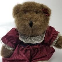 Commonwealth Ash Brown Teddy Bear w/ Maroon Blue Polka Dot Dress Velvet ... - $19.75