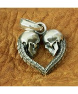 LINSION 925 sterling silver double skull heart men's pendant Jewelry - $144.99