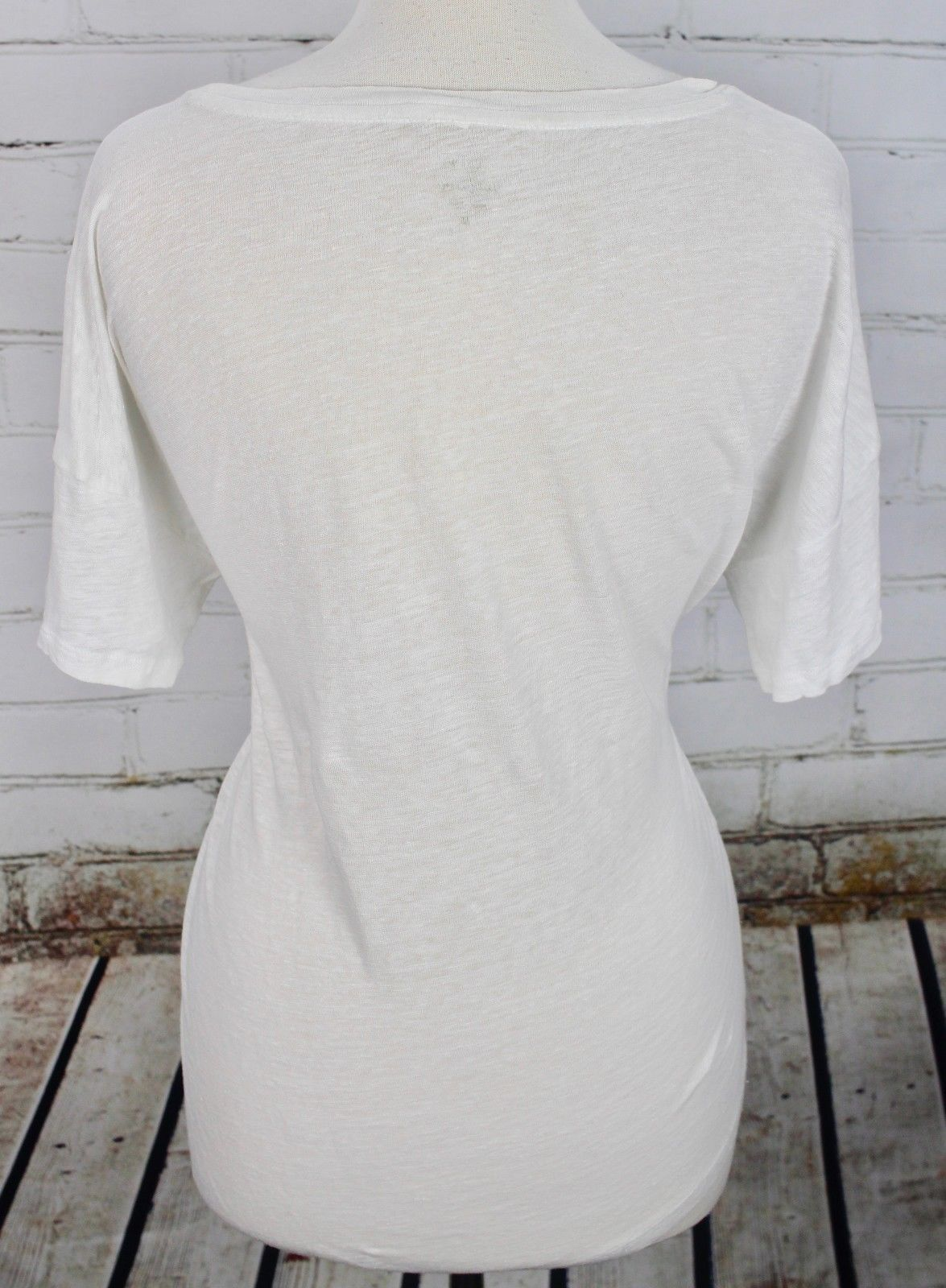 J Crew Boyfriend T-Shirt 100% Linen Tee Women's M White Short Sleeve Top Dolman image 4