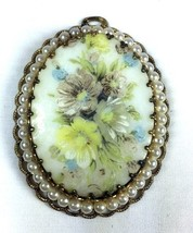 Vintage Victorian Hand painted Soft Floral Resin Oval Filigree Gold Tone... - $43.00