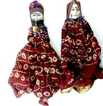 Matched Pair of Hand Crafted Indian Puppets Dolls Bohemian Vintage Toy D... - $28.49