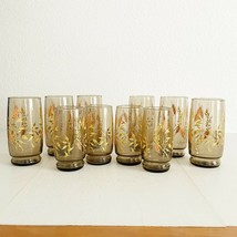 Vintage Brown Glassware Anchor Hocking Triguba Golden Wheat Glasses Lot ... - $74.25