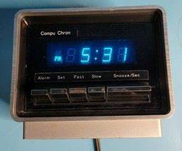 Vintage Compu Chron No. 5600 Digital LED Space Age Blue Display Alarm Cl... - $49.99