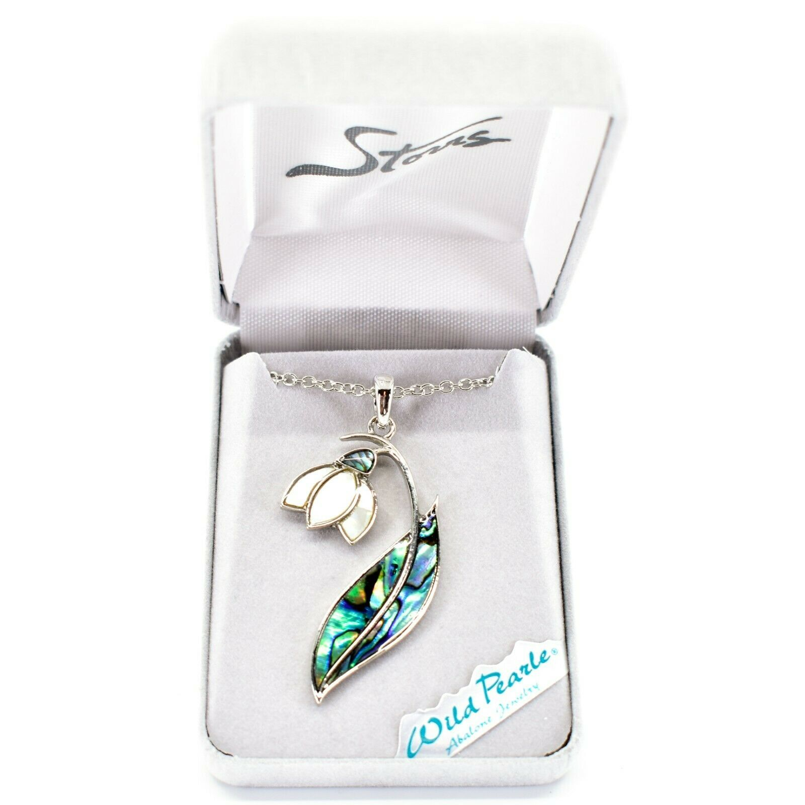 Storrs Wild Pearle Abalone Shell Snowdrop Flower Pendant w Silver Tone Necklace