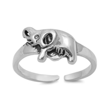 Elephant Design Women's Adjustable Toe 14k White Gold FN 925 Silver Roun... - $9.99
