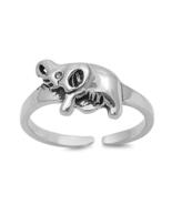 Elephant Design Women's Adjustable Toe 14k White Gold FN 925 Silver Roun... - $9.99