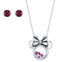 Disney Minnie Mouse Floating RED/CLEAR Crystal NECKLACE/EARRINGS SET**NEW!**$60! - $37.99