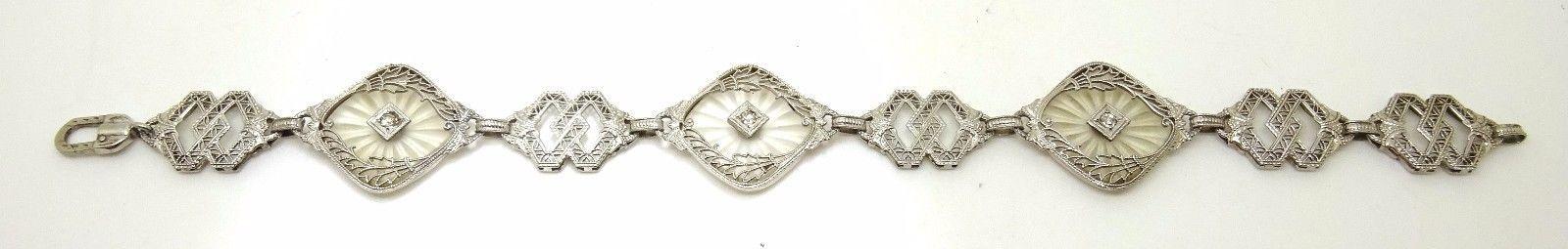 10k Gold Art Deco Filigree Bracelet with Genuine Natural Diamonds (#J3575)