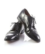 Johnston Murphy Black Leather Brogue Cap Toe Oxfords Dress Shoes Mens 10.5 - $59.31