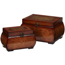 Decorative Lacquered Wood Chests (Set of 2), Nearly Natural - €49,29 EUR