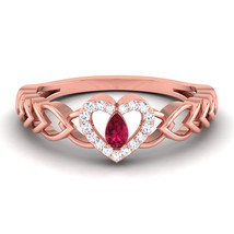 Pear Cut Pink Diamond Ring Heart Infinity Band Womens Wedding Gift 925 S... - $139.99