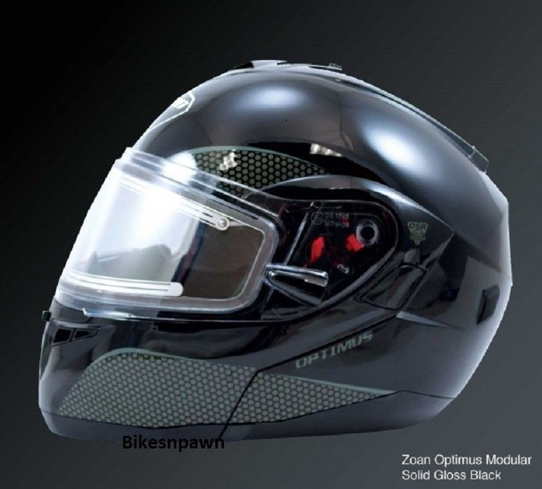 New S Zoan Optimus Gloss Black Modular Snowmobile Snow Helmet w/Electric Shield