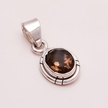 925 Sterling Silver Natural Smokey Topaz Charm Pendant Women Fine Jewelry Gifts - $17.09