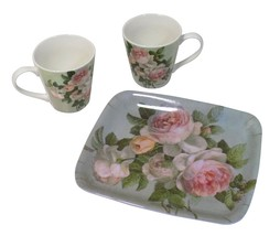 ROSE PINK GREEN DUCK EGG BLUE SET OF TWO CERAMIC MUGS AND MELAMINE TRAY - $26.15