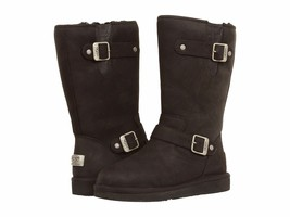Ugg Australia Booties Sutter Boot Black Leather Moto Buckle Shearling Mid Calf 5 - $180.28