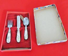 Vintage Genuine Abalone Pearl John Salm Child Set Silverware Fork Knife ... - $24.74